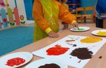 Metoda malowania 10 palcami- Sówki/ 10 finger painting method